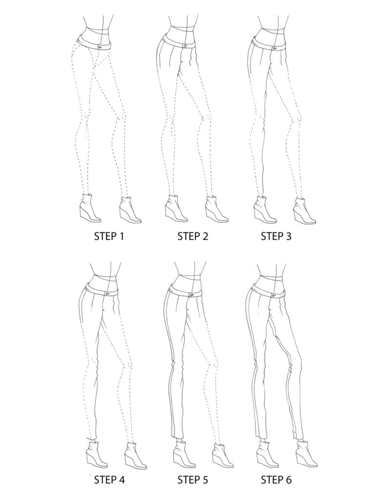 Awesome Picture Of How To Draw Womens Denim Jeans