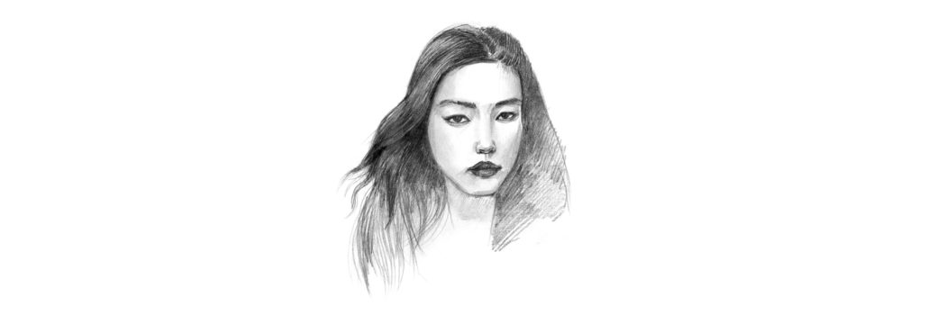 drawing the front view of the face fashion finishing sc